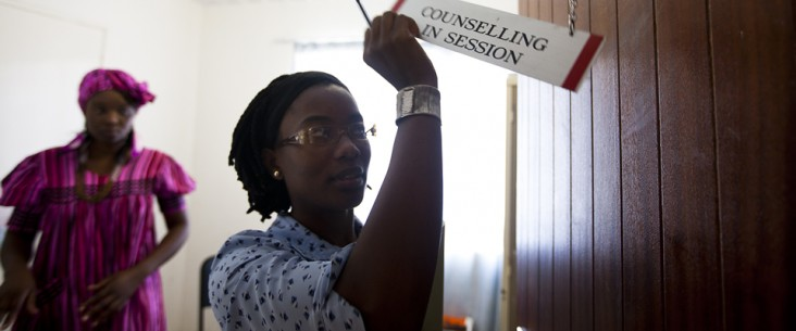 Hindrina Shomawe provides HIV counseling at the Oshikuku Catholic Hospital in Namibia.