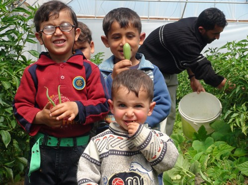 Children enjoying fresh produce grown by their family in a greenhouse provided through USAID assistance.
