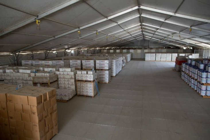 Prepositioned USAID disaster relief supplies in Port-au-Prince, Haiti