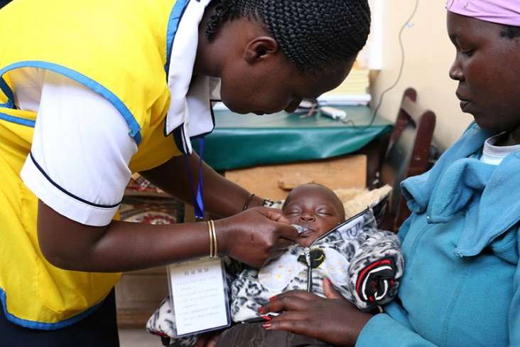 A young child receives the rotavirus vaccination at a clinic in Kenya.