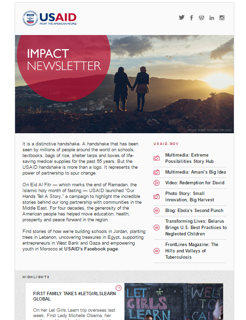 Click to read the July 7, 2016 Impact Newsletter: Take a closer look: Our hands tell a story