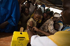 Photo of a child getting an injection