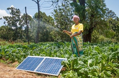 A woman standing near a solar panel on the ground