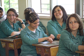 female students in a classroom in Jordan
