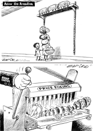 These two political cartoons appeared in the South African press after the country's Competition Commission brought a price-fixi