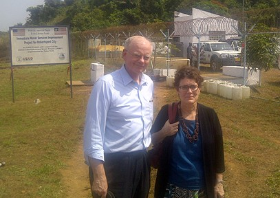 At Robertsport Water Plant: Christian Holmes, USAID Global Water Coordinator and Barbara Dickerson, Deputy Mission Director