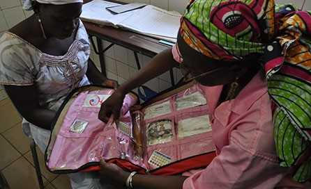 Two women review family planning choices in Mali