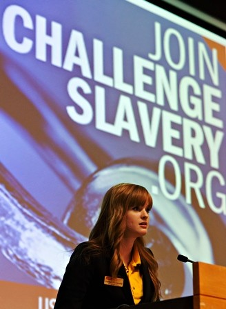 Student leader Kaitlyn Fitzgerald speaks at the Challenge Slavery event at Arizona State University on January 9.