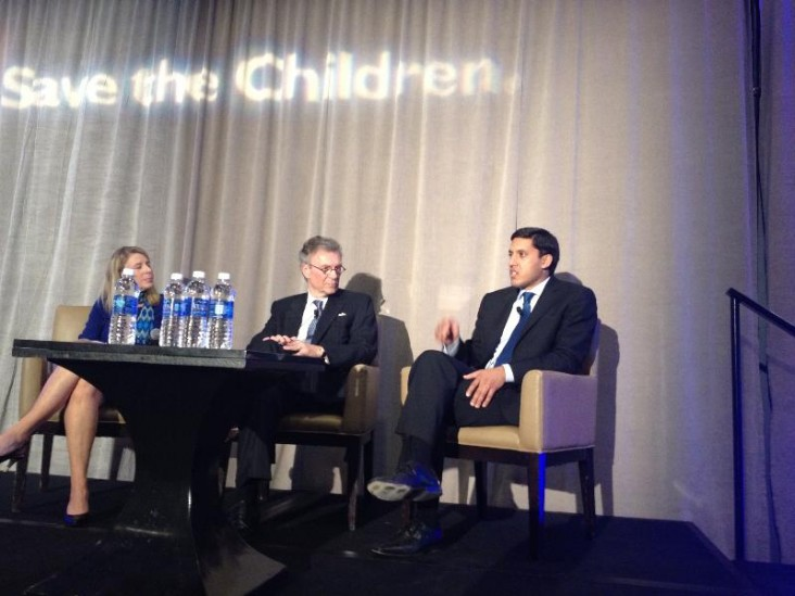 Save the Children CEO Carolyn Miles, Senator Tom Daschle,and USAID Administrator Raj Shah.