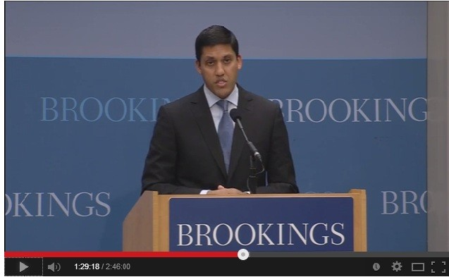 USAID Administrator Rajiv Shah gives remarks at the Brookings Institution on ending extreme poverty. Photo Credit: Brookings