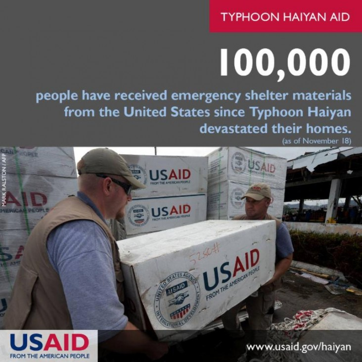 100,000 people have received emergency shelter materials from the United States since Typhoon Haiyan devastated their homes.