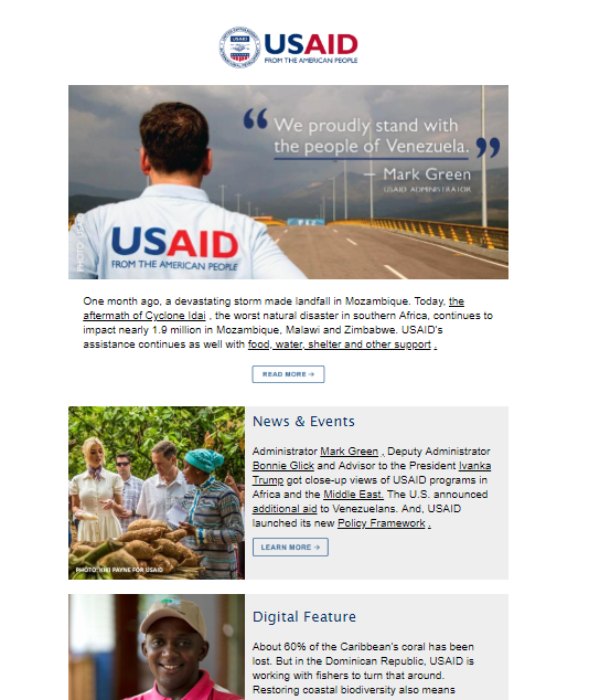Click to view the April 18, 2019 USAID Newsletter