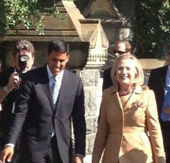 Secretary of State Hillary Clinton and USAID Administrator Rajiv Shah on the Georgetown Campus for at Thursday's Child Survival