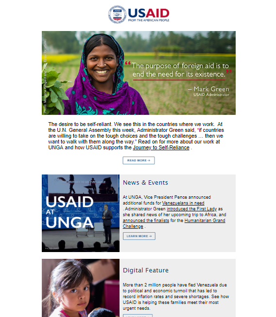 September 27, 2018 edition of the USAID Newsletter. Click to read.