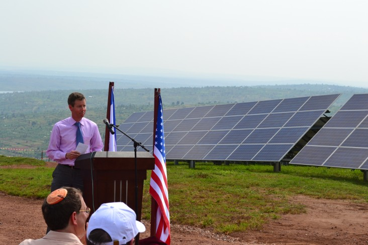 OPIC's Chief of Staff John Morton delivers remarks at the opening ceremony for Gigawatt Global's 8.5 megawatt solar facility eas