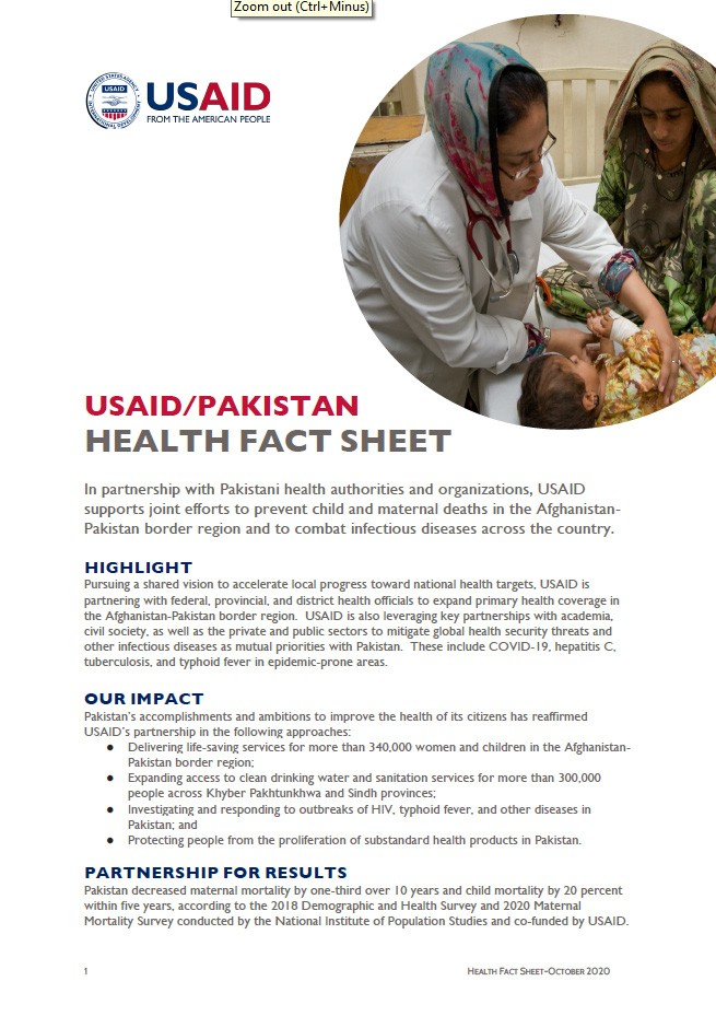 USAID/Pakistan Health Sector Fact Sheet