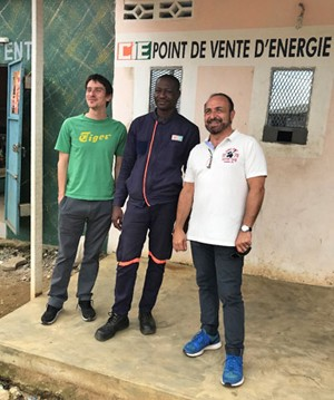 SRUC Team members, Valentin Villalbi (far left) and Eric McCartney (far right) with local representative from CIE, the Ivoirian transmission and distribution concessionaire