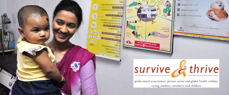 A mother holds her child in front of health posters. Survive and Thrive logo