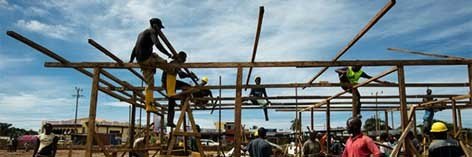 Construction crews work quickly to build a new Ebola Treatment Unit in Liberia.