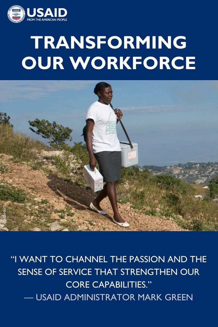 Photo of a woman walking along a dirt path with text Transforming Our Workforce