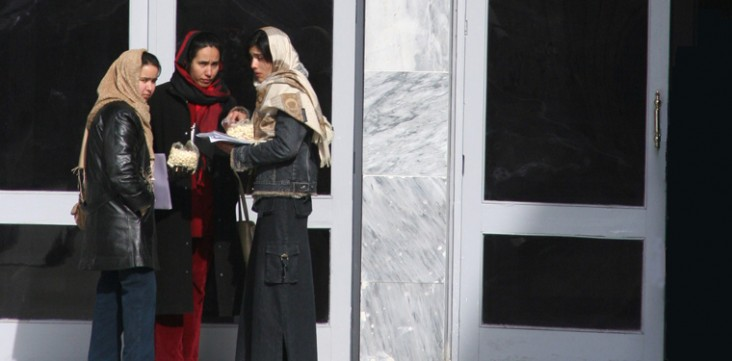 Students chat outside Kabul University Medical School, which is being fixed up with U.S. and other international aid.