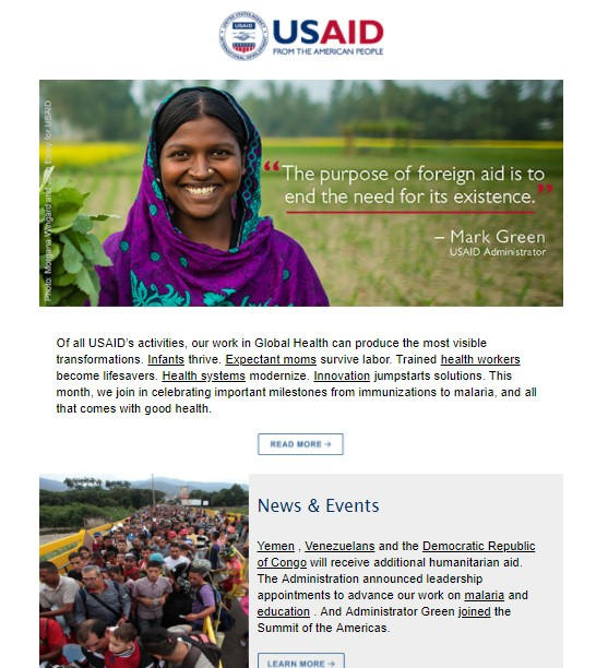 Click to read the April 19, 2018 USAID Newsletter