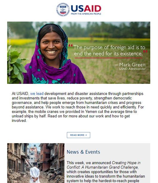 USAID Newsletter - February 22, 2018