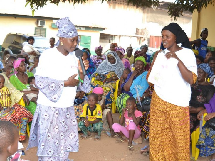 Women participating in community health promotion activities.