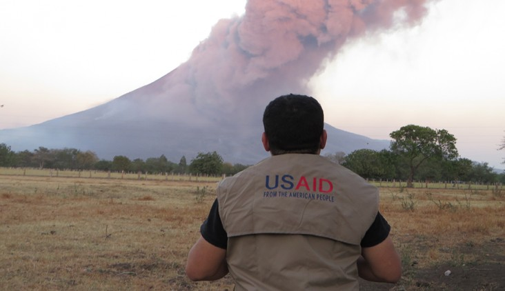 USAID responds to an average of 65 disasters in more than 50 countries every year, including storms, earthquakes, and volcanoes. Here, a USAID disaster expert monitors the Momotombo volcano in Nicaragua, which has been spewing ash since 2015.