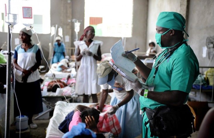 A USAID-supported cholera treatment center treats patients during Haiti's historic cholera outbreak in late 2010.