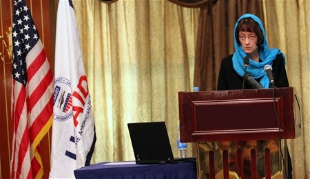 USAID Deputy Mission Director Brooke Isham speaks at the launch of a new USAID project in Kabul.
