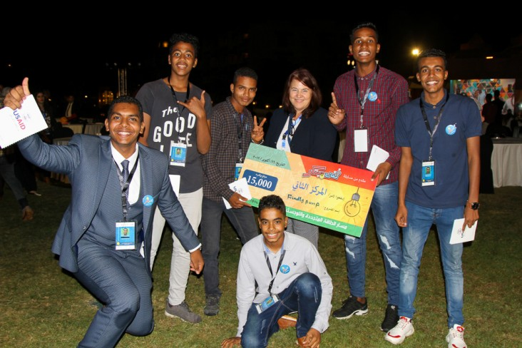 USAID/Egypt Deputy Mission Director Rebecca Latorraca celebrates with award-winning vocational school students at the Fanni Mobtaker competition.