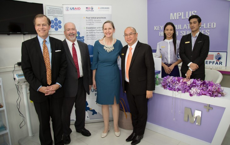 U.S. Ambassador Glyn T. Davies, left, USAID Regional Development Mission for Asia Director Richard Goughnour, and U.S. Consul General Jennifer Harhigh join opening of health center in Chiang Rai, Thailand.