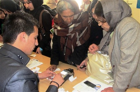 Teachers from Aisha-i-Durani High School in Kabul watch a live demonstration of the mobile money service with AWCC.
