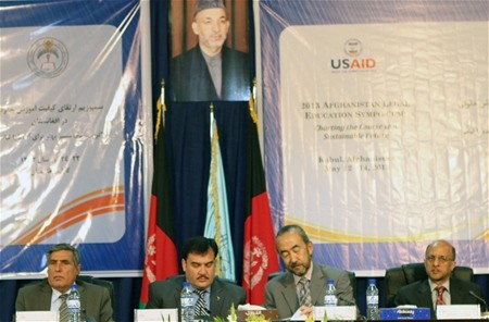 USAID Mission Director Dr. Ken Yamashita and Minister of Higher Education Dr. Obaidullah Obaid attend at the opening ceremony of