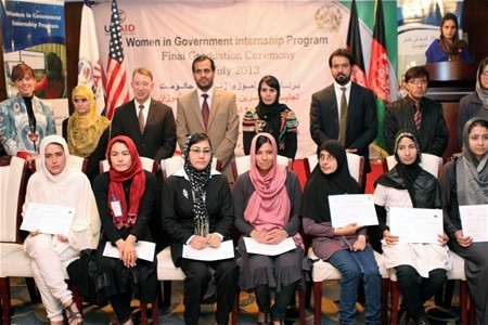 Graduates of Women in Government Internship Program with USAID Deputy Mission Director Jerry Bisson (standing third from the lef