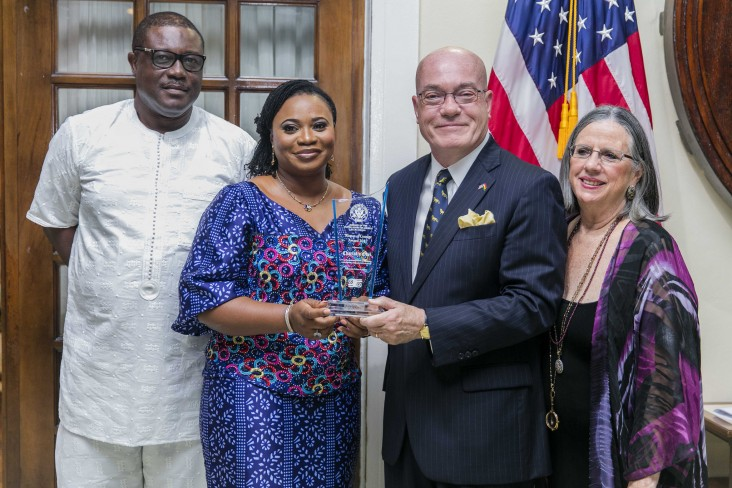 Amb Jackson and his wife Babs, with Mrs Charlotte Osei and her husband