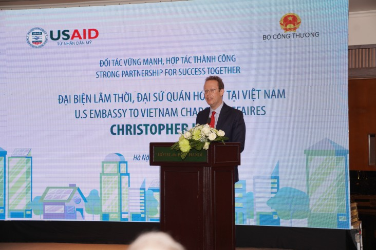 U.S. Chargé d'Affaires Christopher Klein speaks at at the event.