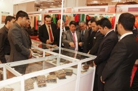 Afghan private-sector and government officials visit a booth showcasing Afghanistan's dried fruit and nuts at the India Internat