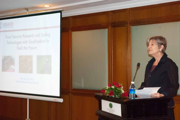 "Rebecca Black, USAID Cambodia Mission Director, speaks at a seminar on ""Scaling New Agricultural Technologies"" in Phnom Penh."