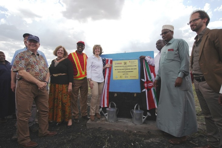 USAID Deputy Administrator Bonnie Glick (in white shirt) commissions the Bula Mpya borehole in Isiolo County. This is the first of five scalable water innovations that the United States is supporting through Kenya Resilient Arid Lands Partnership for Integrated Development.