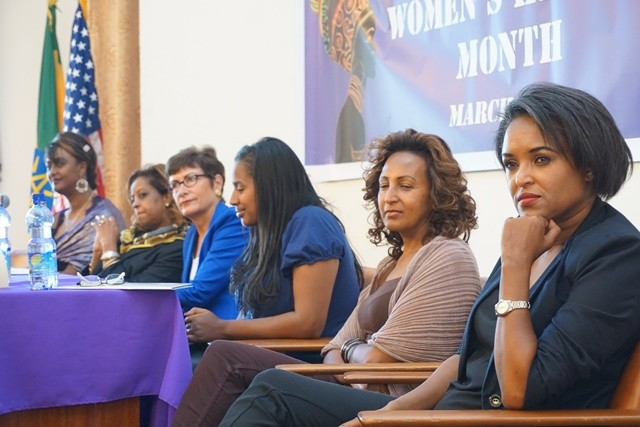 U.S. Ambassador to Ethiopia Patricia Haslach (third form left) and five prominent Ethiopian women share their experiences