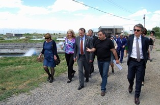 group of people walking through a fishery