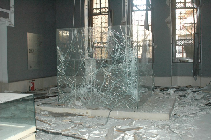 Debris from a bomb attack fills the Museum of Islamic Art in Cairo.