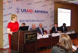 USAID Armenia Mission Director Karen Hilliard speaks at the public presentation of survey results.