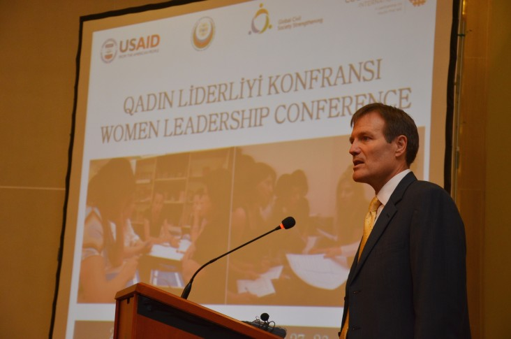 USAID Mission Director addresses the conference emphasizing the importance of the dialogue between government and civil society