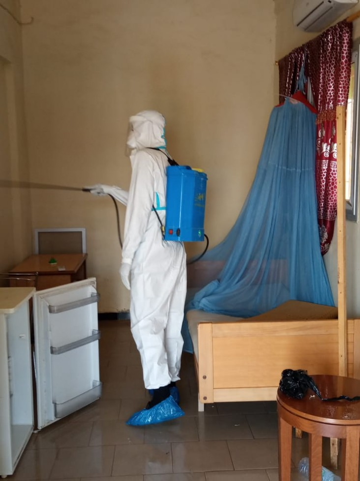 COVID-19 decontamination of a household in Touba, Diourbel region