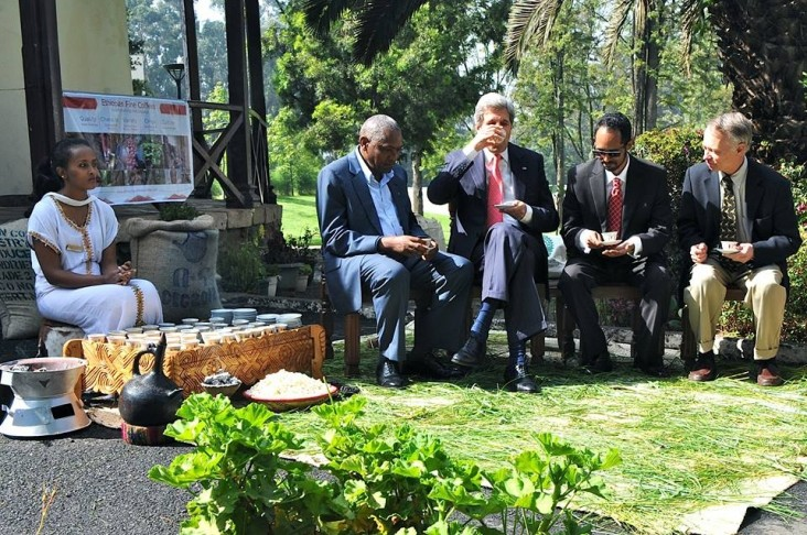 Secretary of State John Kerry drinks a cup of coffee during a traditional Ethiopian coffee ceremony.