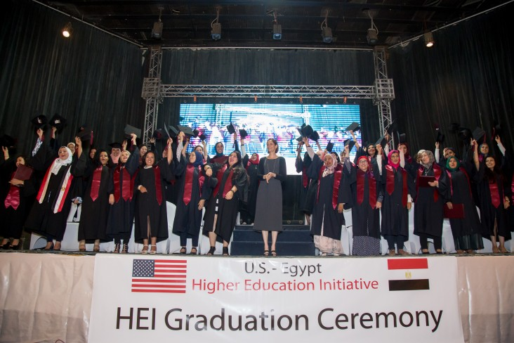 USAID/Egypt Mission Director Sherry F. Carlin with the 52 women HEI MBA graduates at their graduation event.