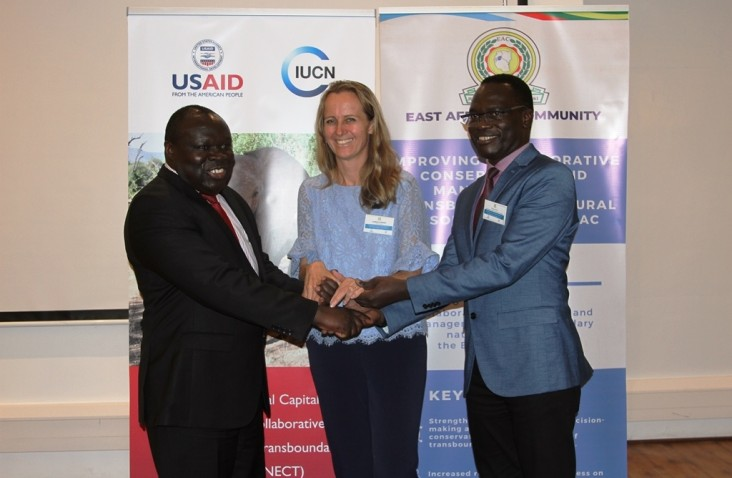 Partnership for conservation: (From left to right) Hon. Christophe Bazivamo, EAC Deputy Secretary General in charge of Productive and Social Sectors, Ms Aurelia Micko Director, Kenya & East Africa Environment Office at USAID and Mr Luther Anukur, IUCN Regional Director for Eastern and Southern Africa officially launch the new USAID supported initiative to protect East Africa's natural resources.